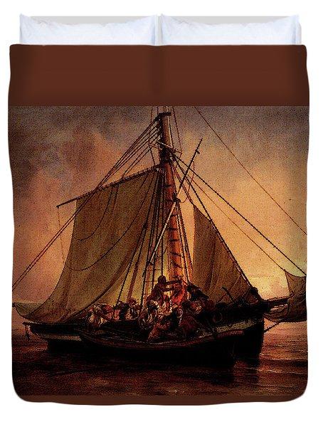 Simonsen Niels Arab Pirate Attack Duvet Cover by Niels Simonsen