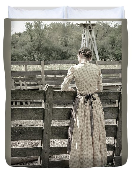 Duvet Cover featuring the photograph Simple Life Girl On Farm by Julie Palencia