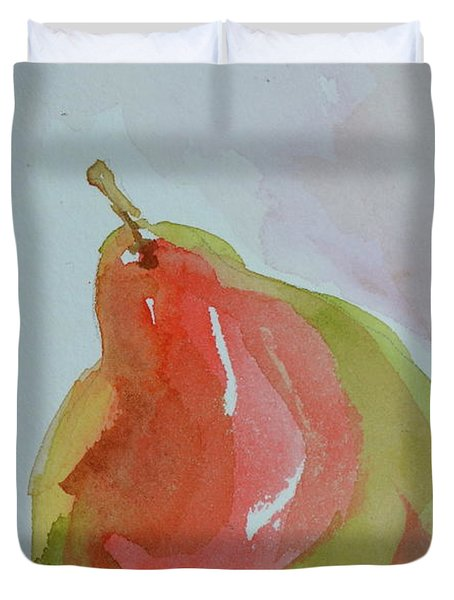 Duvet Cover featuring the painting Simple Pear by Beverley Harper Tinsley