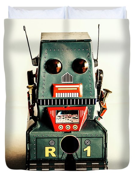 Simple Robot From 1960 Duvet Cover