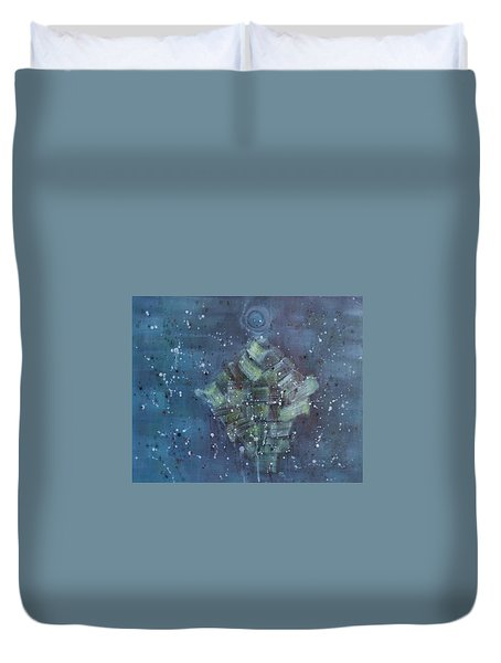 Duvet Cover featuring the painting Simpleness Is Happiness by Min Zou