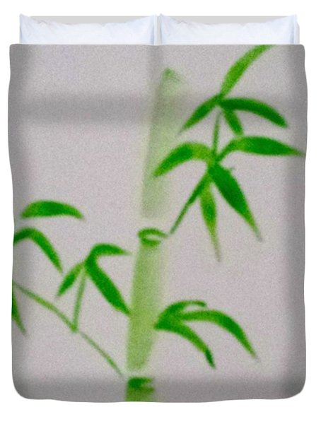 Duvet Cover featuring the painting Simplicity Of Bamboo by Margaret Welsh Willowsilk