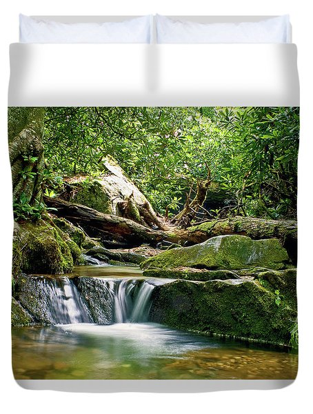Duvet Cover featuring the photograph Sims Creek Waterfall by Meta Gatschenberger