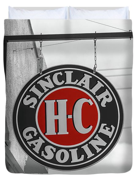 Sinclair Gasoline Round Sign In Selective Color Duvet Cover