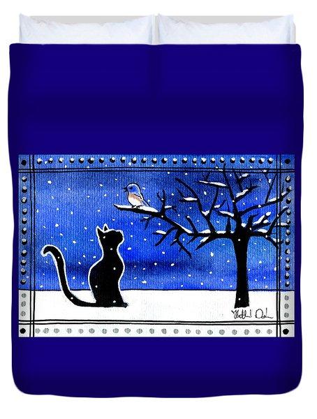 Sing For Me - Black Cat Card Duvet Cover