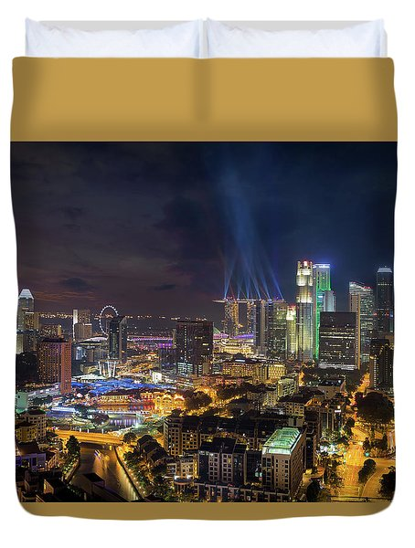 Singapore City Lights Duvet Cover by David Gn