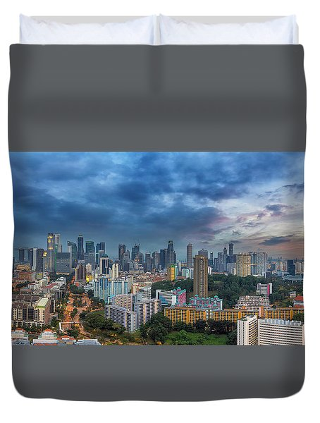 Singapore Cityscape At Sunset Duvet Cover by David Gn