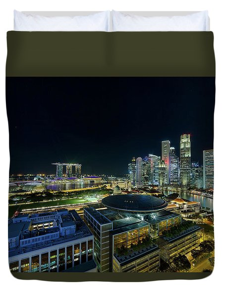 Singapore Modern Skyline By The River At Night Duvet Cover by David Gn