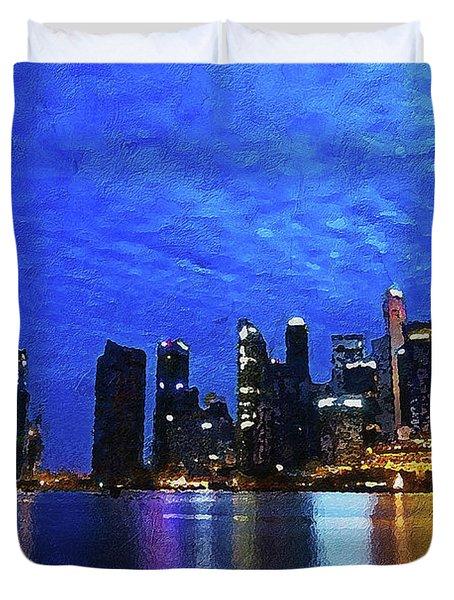 Duvet Cover featuring the digital art Singapore City by PixBreak Art