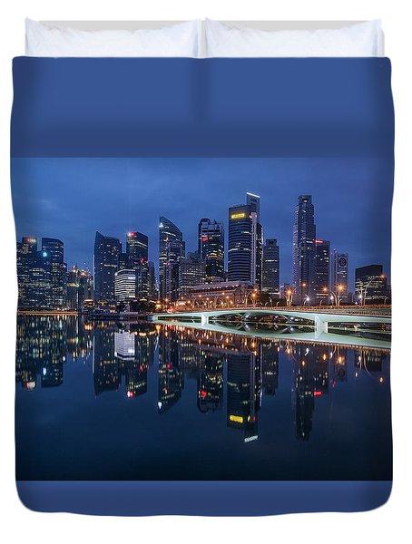 Duvet Cover featuring the photograph Singapore Skyline Reflection by Pradeep Raja Prints
