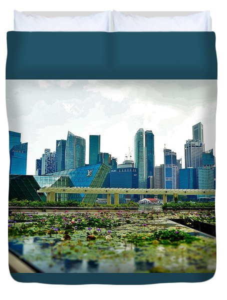 Singapore Skyline Duvet Cover by Sarah Hamed