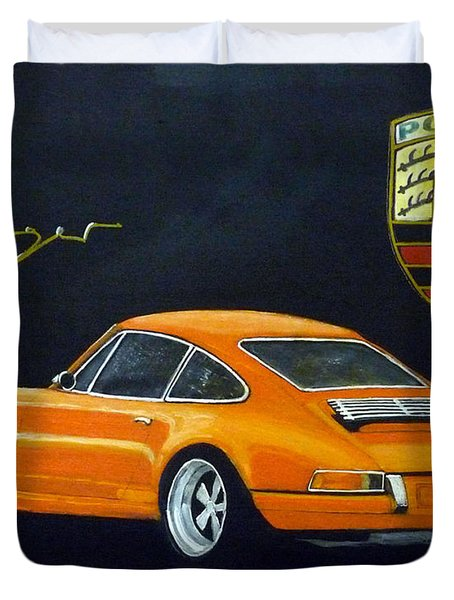 Duvet Cover featuring the painting Singer Porsche by Richard Le Page