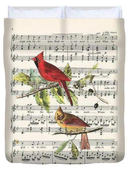 Singing Cardinals Duvet Cover