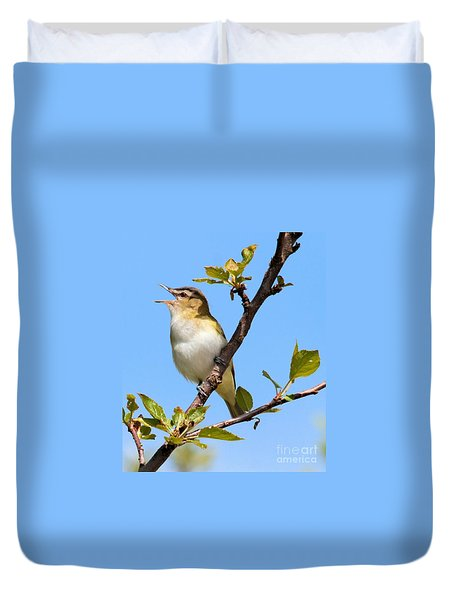 Singing Red-eyed Vireo Duvet Cover