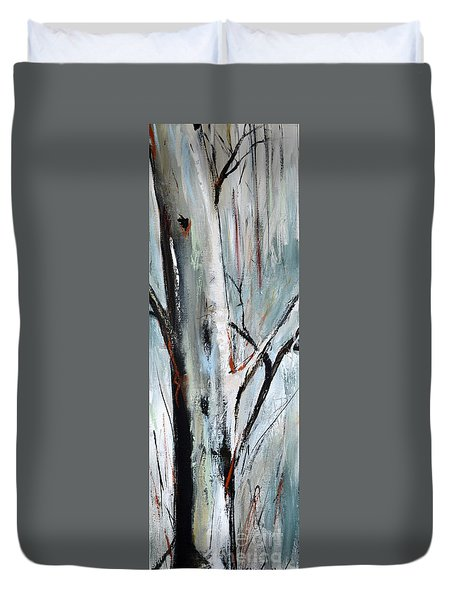 Duvet Cover featuring the painting Single Aspen by Cher Devereaux