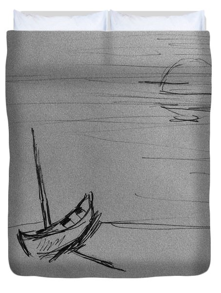 Single Boat At The Beach Duvet Cover