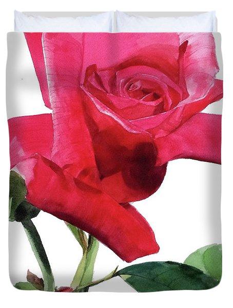 Single Bright Pink Rose Unfolding Duvet Cover