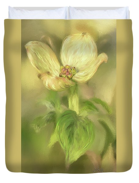 Duvet Cover featuring the digital art Single Dogwood Blossom In Evening Light by Lois Bryan