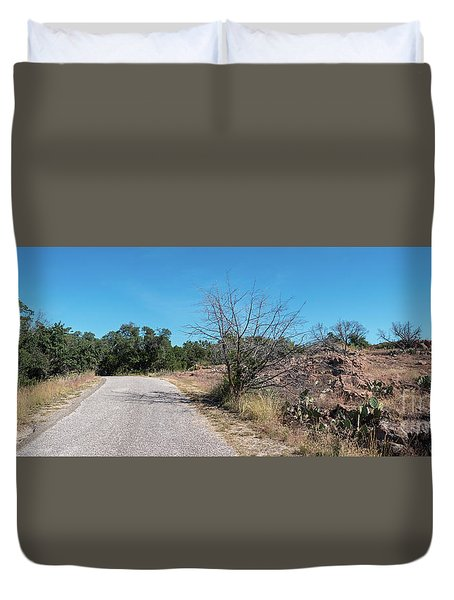 Single Lane Road In The Hill Country Duvet Cover