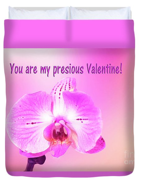 Duvet Cover featuring the photograph Single Orchid Valentine by Linda Phelps