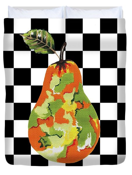Duvet Cover featuring the mixed media Single Pear by Kathleen Sartoris