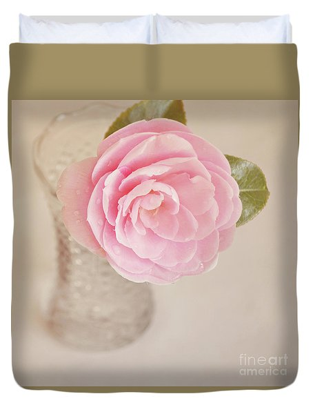 Duvet Cover featuring the photograph Single Pink Camelia Flower In Clear Vase by Lyn Randle