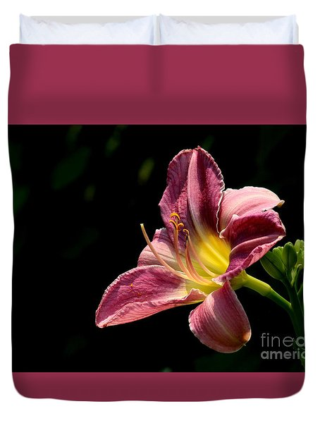 Single Pink Day Lily Duvet Cover