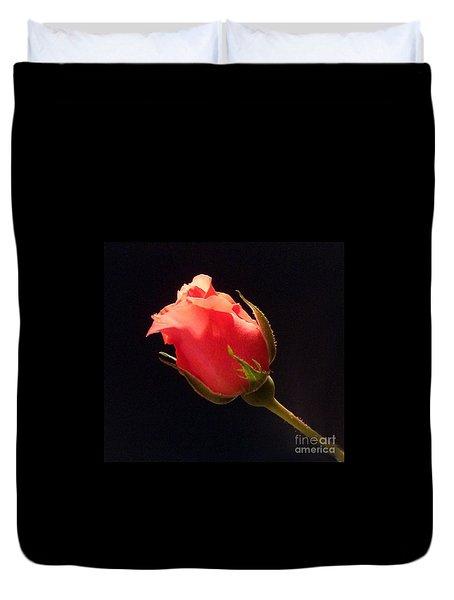 Single Pink Rose Bud Duvet Cover