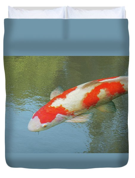Single Red And White Koi Duvet Cover by Gill Billington