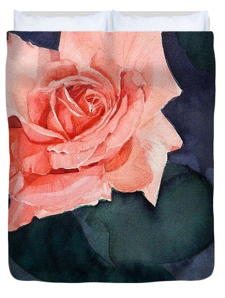 Watercolor Of A Magic Bright Single Red Rose Duvet Cover