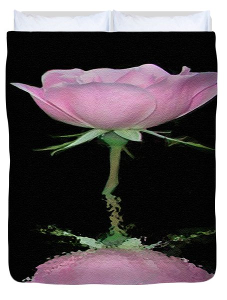 Single Reflected Pink Rose Duvet Cover