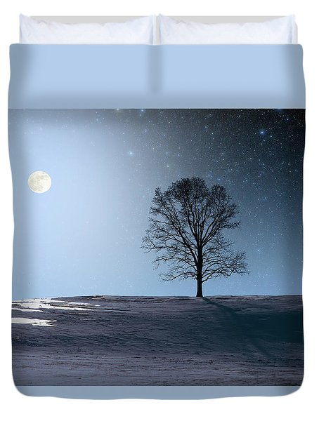 Single Tree In Moonlight Duvet Cover