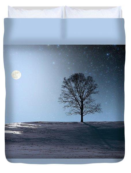 Single Tree In Moonlight Duvet Cover