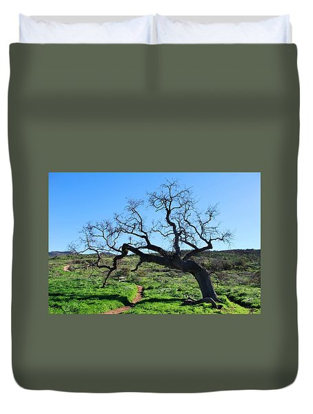 Single Tree Over Narrow Path Duvet Cover