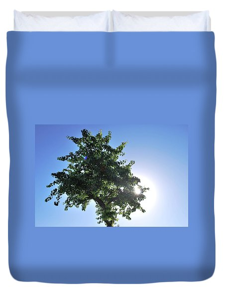 Single Tree - Sun And Blue Sky Duvet Cover