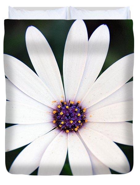 Single White Daisy Macro Duvet Cover
