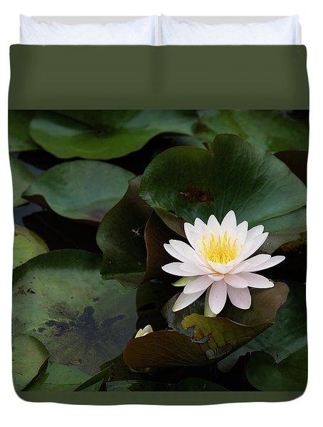 Single White Pristine Lotus Lily Duvet Cover