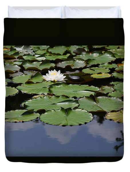 Duvet Cover featuring the photograph Single White Water Lily by Kathleen Stephens