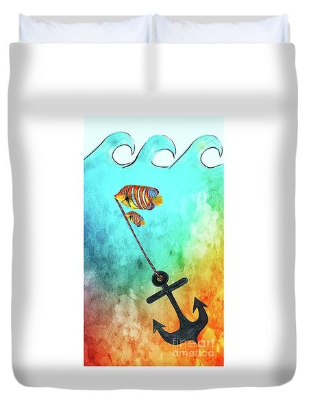 Duvet Cover featuring the mixed media Sink Or Swim By Kaye Menner by Kaye Menner
