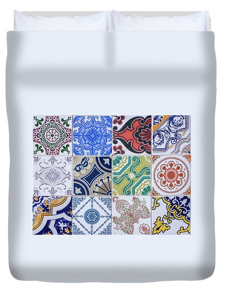 Duvet Cover featuring the photograph Sintra Tiles by Carlos Caetano