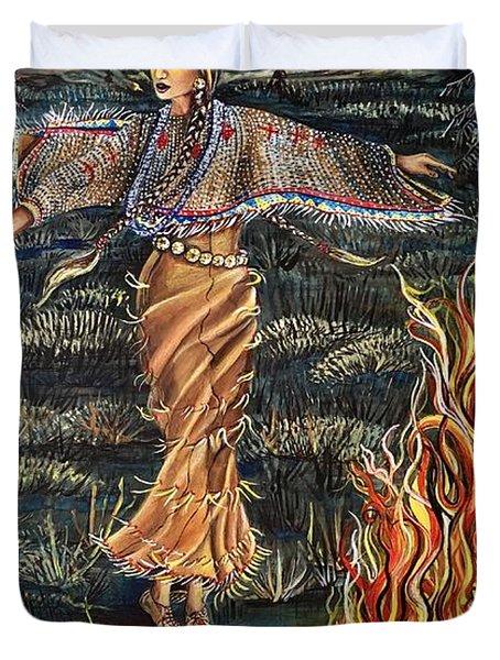 Sioux Woman Dancing Duvet Cover
