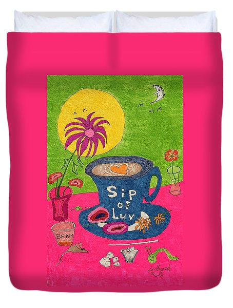 Sip Of Luv Duvet Cover