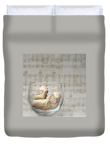 Sipping Wine While Listening To Music Duvet Cover