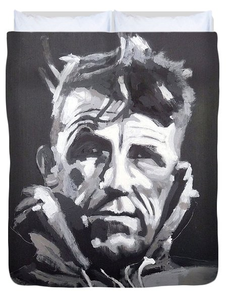 Duvet Cover featuring the painting Sir Edmund Hillary by Richard Le Page