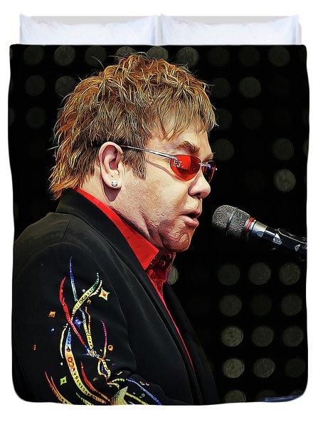 Sir Elton John At The Piano Duvet Cover