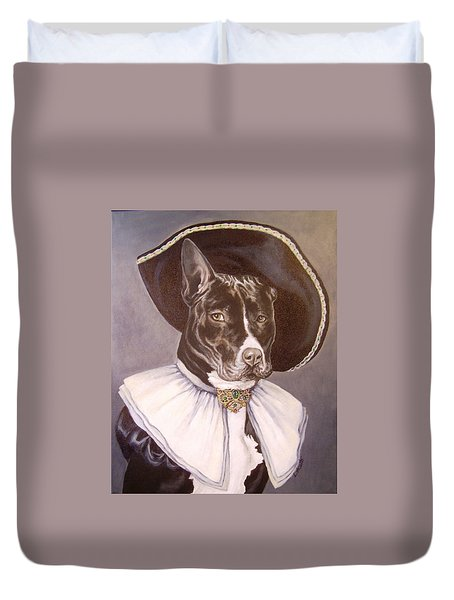 Duvet Cover featuring the painting Sir Pibbles by Laura Aceto