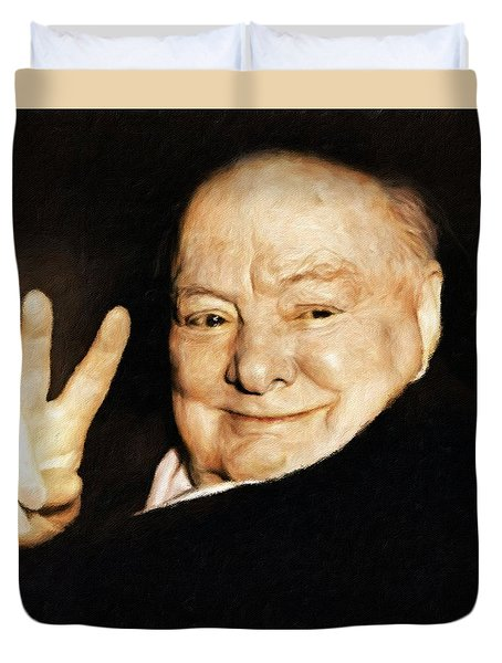 Sir Winston Churchill Victory Duvet Cover