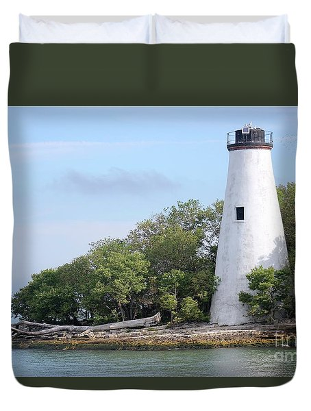 Sister Island Lighthouse Duvet Cover by The Art of Alice Terrill