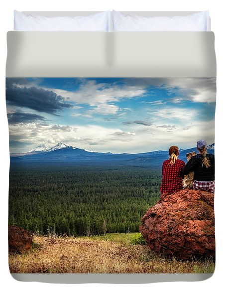 Duvet Cover featuring the photograph Sisters by Cat Connor