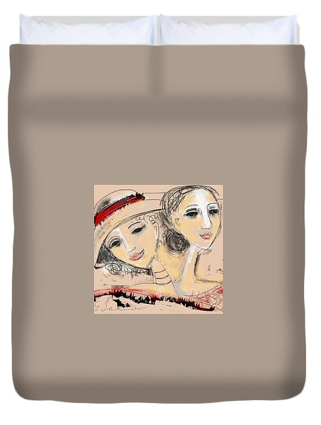 Sisters Duvet Cover by Elaine Lanoue